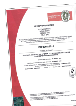 Lee Spring UK ISO Certificate