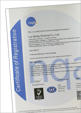 Lee Spring China Suzhou ISO Certificate